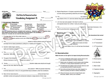Civil War & Reconstruction Vocabulary Activities