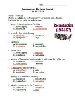 Civil War Reconstruction Vocabulary and Unit Test 5th Grade