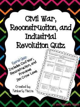 Civil War, Reconstruction and Industrial Revolution Quiz