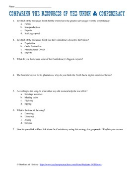 Civil War Resources Worksheet & Song Lyrics