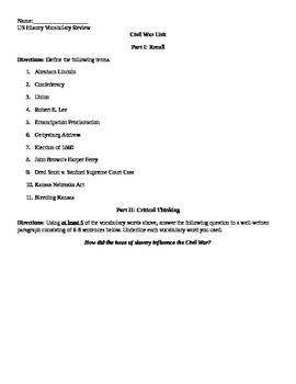 Civil War Review Sheet