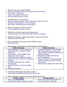 Civil War Review Sheet with Answer Key