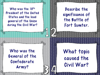 Civil War Review Task Cards - Set of 28