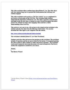 Civil War: Robert E. Lee in 4 Minutes Video Worksheet