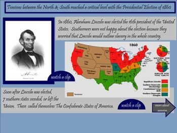 Civil War SMARTboard Lesson - 24 pgs. Interactive/Videos/Fun! VA SOLs