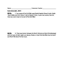 Civil War (SS5H1) Constructed Response Quiz