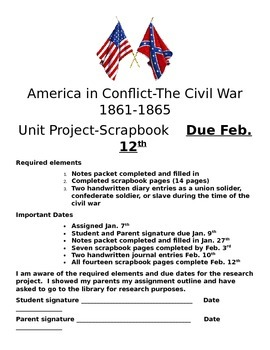 Civil War Scrapbook notes packet
