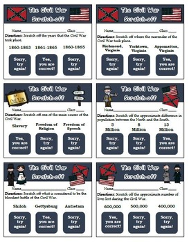 Civil War Scratch Off Tickets