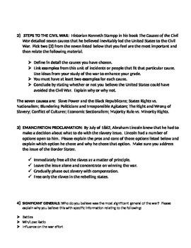 Civil War Essay Exam (United States History / Civil War)