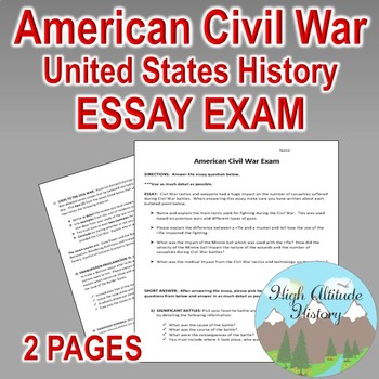Computer Science Essays Civil War Essay Exam United States History  Civil War Personal Essay Thesis Statement also Sample Essays For High School Civil War Essay Exam United States History  Civil War  Tpt Synthesis Essay Topic Ideas