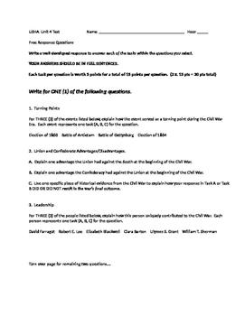 Civil War Short Response Test