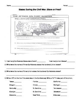 Civil War- Slave or Free Map Worksheet by Rebecca Miller | TpT