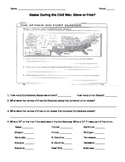 Civil War- Slave or Free Map Worksheet