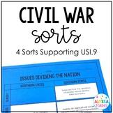 Civil War Sorting Activities (USI.9)