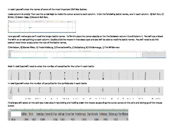 Civil War Stats Excel graphs