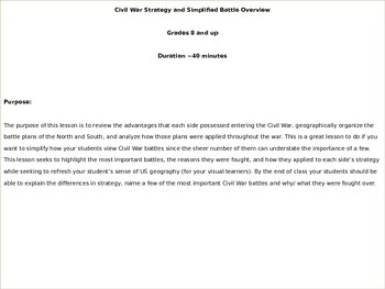 Civil War Strategy and Simplified Battle Overview