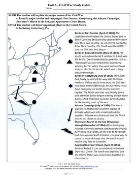 Civil War Study Guide--5th Grade