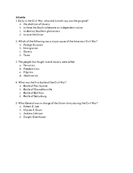 Civil War Study Guide, Quizzes, Test, and Keys