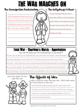 Civil War Summary Booklet