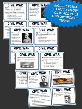 Civil War - Task Cards - 36 Task Cards of the American Civil War