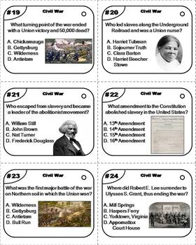 Civil War Task Cards: Abraham Lincoln, Gettysburg, etc.