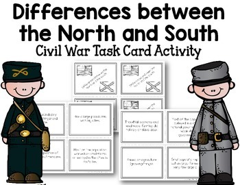 Civil War Task Cards - Differences between the North and South