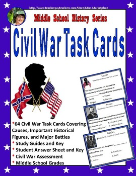 Civil War Task Cards, Study Guide, and Assessment