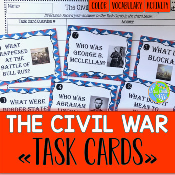 Civil War Task Cards and Recording Sheet