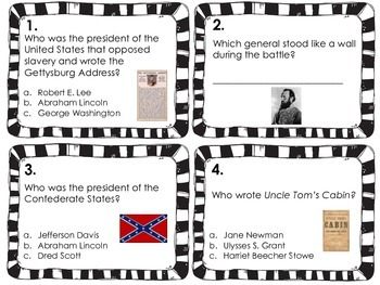 Civil War Task Cards or Scoot Game