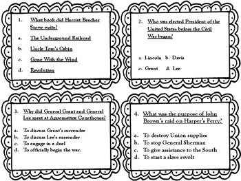 Civil War Task Cards with QR Codes