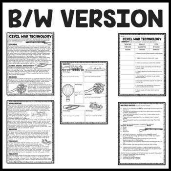 Civil War Technology Reading Comprehension Worksheet