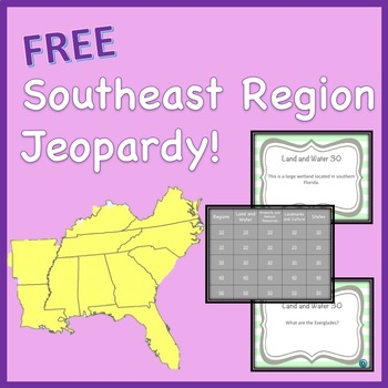 Southeast Region Jeopardy Style Review Game FREE!