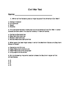 Civil War Test and Key: 25 Multiple Choice and 4 Documents Based Questions