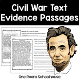 Civil War Close Reading Text Evidence Passages (Distance Learning)