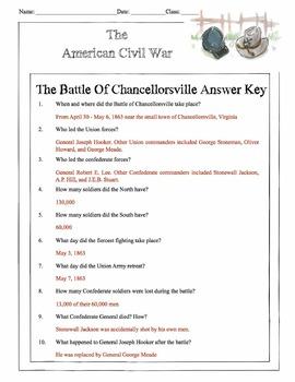 Civil War - The Battle Of Chancellorsville Content Sheet, Worksheet & Answer Key