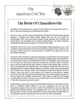 Civil War - The Battle Of Chancellorsville Content Sheet,