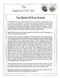 Civil War - The Battle Of Fort Sumter Content Sheet, Worksheet & Answer Key