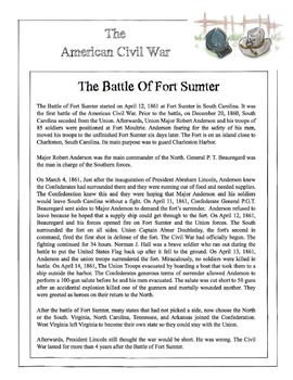 Civil War - The Battle Of Fort Sumter Content Sheet, Worksheet & Answer Key