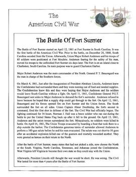 Civil War - The Battle Of Fort Sumter Content Sheet, Works
