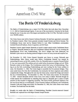 Civil War - The Battle Of Fredericksburg Content Sheet, Worksheet & Answer Key