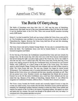 Civil War - The Battle Of Gettysburg Content Sheet, Worksheet & Answer Key