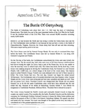 Civil War - The Battle Of Gettysburg Content Sheet, Worksh