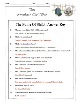 Civil War - The Battle Of Shiloh Content Sheet, Worksheet & Answer Key