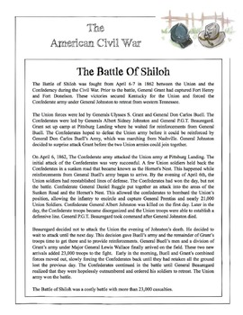 graphic relating to Shiloh Worksheets Printable referred to as Civil War - The Fight Of Shiloh Satisfied Sheet, Worksheet Option Main