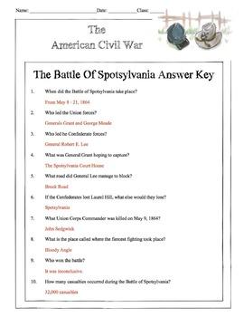 Civil War - The Battle Of Spotsylvania Content Sheet, Worksheet & Answer Key