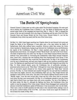 Civil War - The Battle Of Spotsylvania Content Sheet, Work
