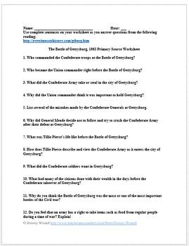 Civil War: The Battle of Gettysburg Primary Source Worksheet