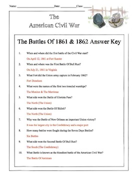 Civil War - The Battles Of 1861 & 1862 Content Sheet, Worksheet & Answer Key