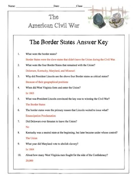 Civil War - The Border States Content Sheet, Worksheet & Answer Key