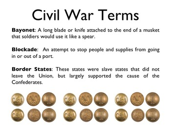Civil War - The Civil War Glossary & Terms PowerPoint